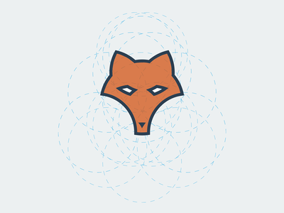 Constructed Fox logodesign branding corporate design icon simple clean circles red logo fox