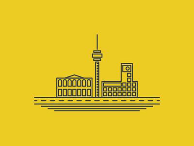 Stuttgart clean simple vector landscape landmark illustration flat city building logo germany stuttgart