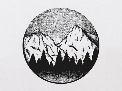 Circular Nature illustration drawing tiny drawing trees landscape illustrator nature dotwork mountain