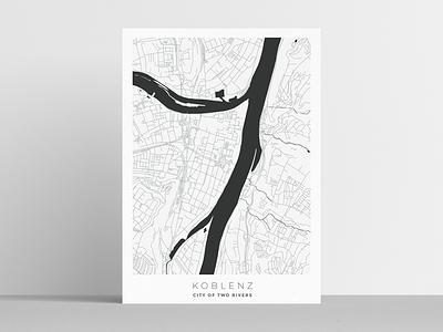 Koblenz urban art poster design maps city minimal clean illustration design poster map