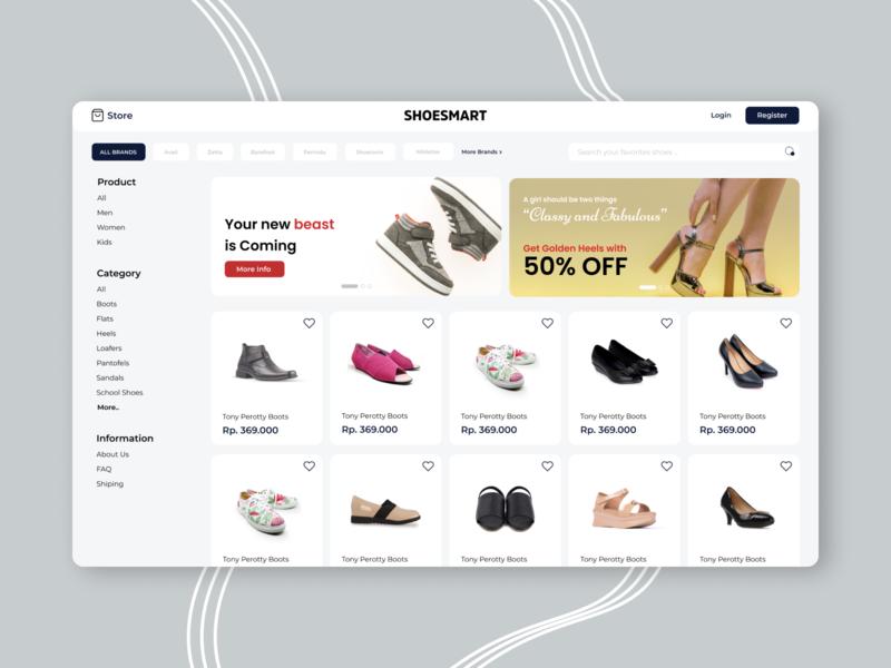 Shoes Store Websites Design minimal branding shoes store shoes commerce app design ux portfolio ui design