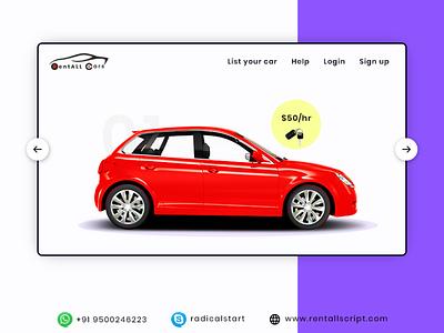 RentALL Cars - Car booking script vector illustration carrentalscript app design
