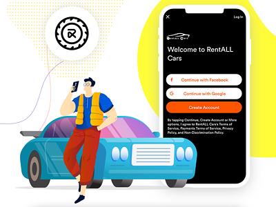 RentALL Cars - Car Rental Script vector illustration app ui design