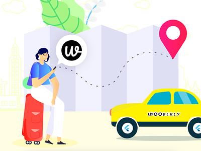 Wooberly - Best Uber Clone Script branding vector ui app design