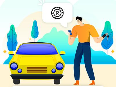 RentALL Cars web icon ux logo branding vector illustration ui app design