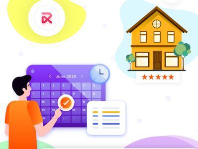 RentALL vector illustration ui app design