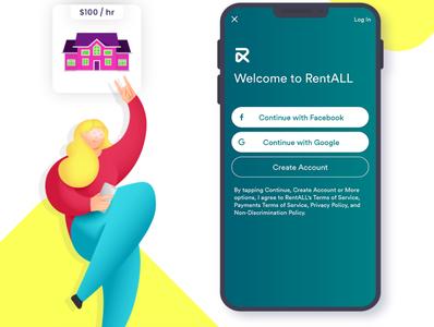 RentALL branding vector illustration ui app design