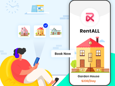 RentALL vector illustration app ui design