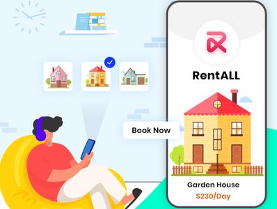 RentALL vector illustration app ui design