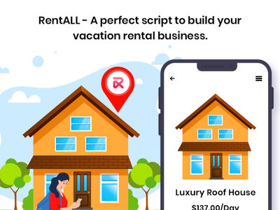 Planning to set up an online rental marketplace platform? icon web ux branding airbnbclone vector illustration app ui design