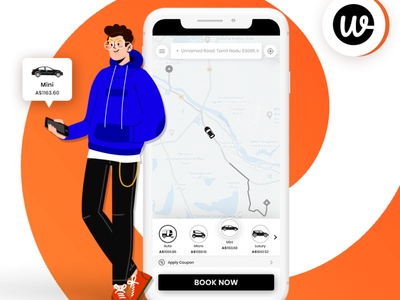 Wooberly - Uber Clone App illustration vector app ui design