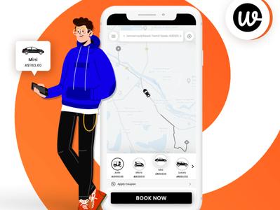 Wooberly - Uber Clone App illustration vector app ui design