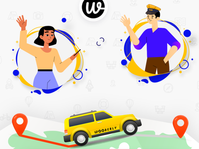 Wooberly vector illustration app ui design