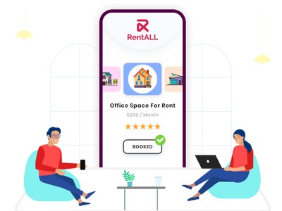 Space Rental Script | Coworking Space Rental Script web ux airbnbclonescript ui airbnbclone branding vector illustration app design