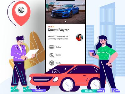 RentALL Cars carrentalscript branding illustration app design