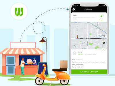 Facilitate  the driver to know the precise location of the user branding illustration design app