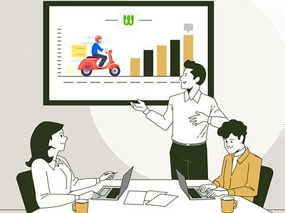 Let us help you grow your on-demand food delivery business ui branding illustration app design