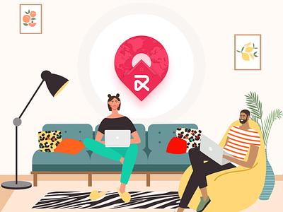 Create a peer-to-peer  coworking space rental marketplace ux illustration branding app design