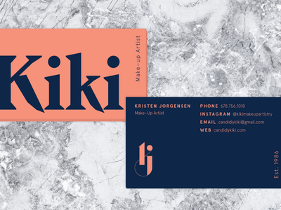 KJ Business Cards makeup artist peach apercu fortesque monogram kj marble personal identity branding business cards