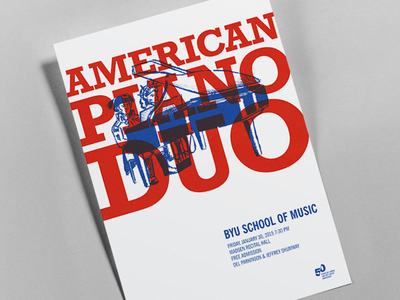 BYU Arts Poster 4: American Piano Duo rockwell piano george washington lady liberty patriot blue white red american drawing illustration poster