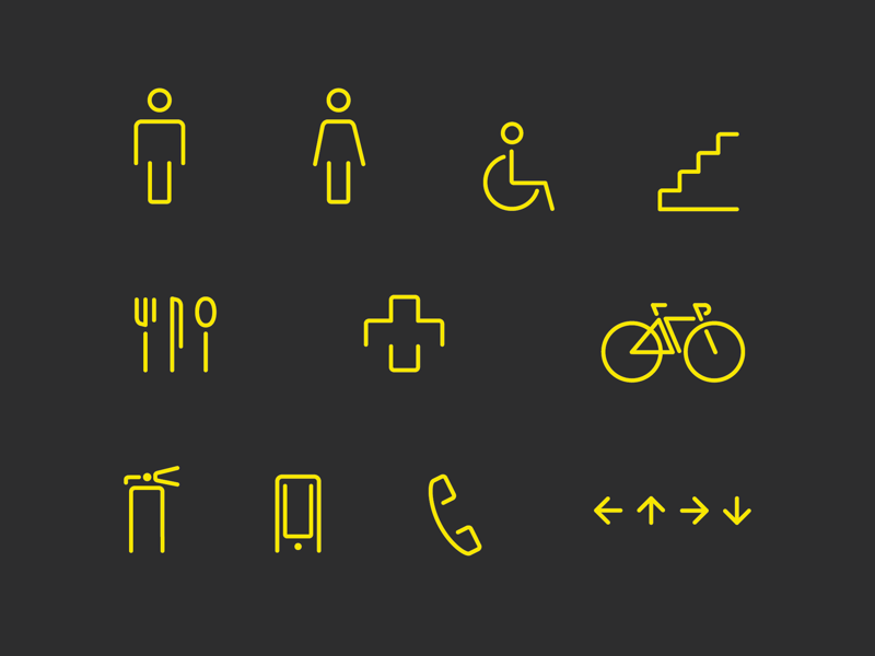 Wayfinding Icons black and yellow arrows phone mobile fire extinguisher bike first aid kitchen stairs wheelchair restrooms icons