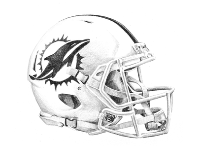 Miami Dolphins New Helmet football shading sketch blackandwhite drawing helmet miami dolphins