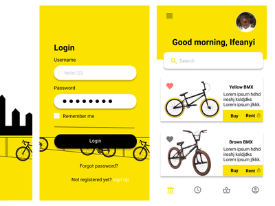 Renty continued vector bicycle app design figmadesign