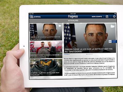 L`express Journal ios newspaper simple ui social ipad news application user interface