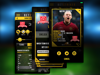 Betstriker soccer football bet ui ux mobile screen rooney goal premier league soccer pitch soccer field