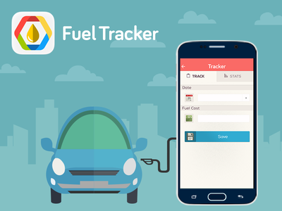 Fuel Tracker nice gas-petrol flat-design location easy user ux ui service tracker save-money