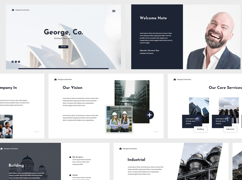 Modern Construction Powerpoint pitch building corporate modern minimalist creative design architec apartment construction business template presentation powerpoint