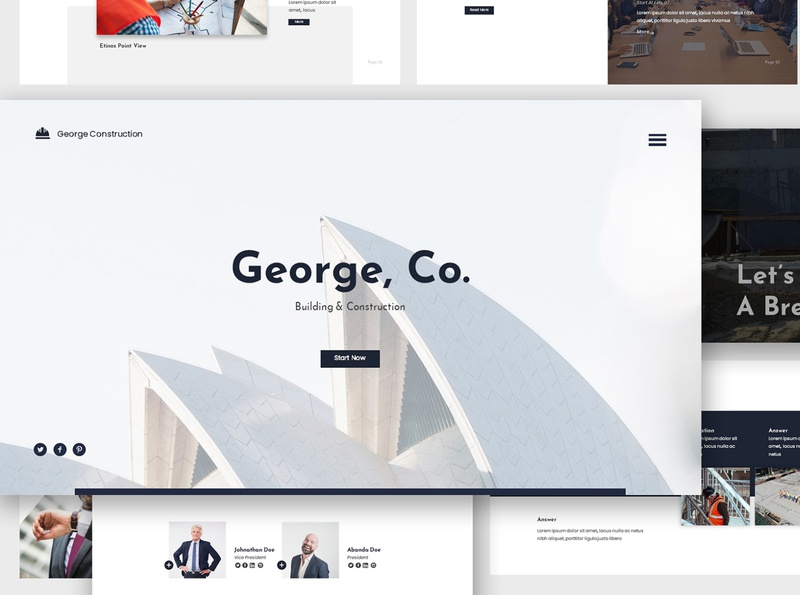 Modern Construction Google Slides pitch building corporate modern minimalist creative design architec apartment construction business template presentation powerpoint googleslides