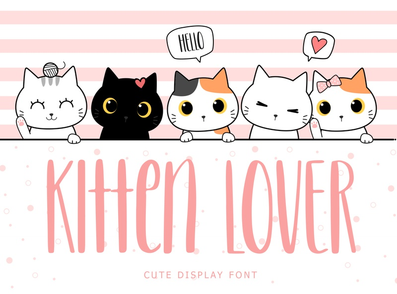 Kitten Lover Cute Display Font cute war fps gaming pussy kitten cats typeface kids modern brand minimal logo branding typography display font handwritten lettering