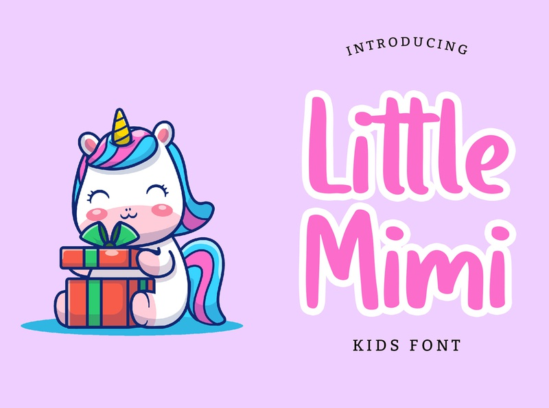 Little Mimi Kids Font animation child children cartoon cute pussy kitten cats typeface kids modern brand minimal logo branding typography display font handwritten lettering