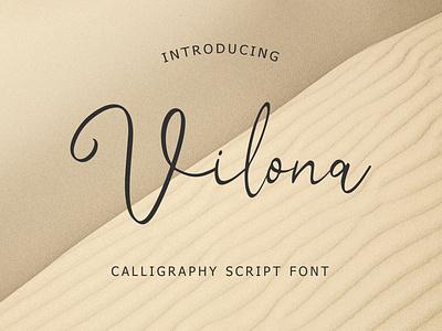 Vilona Calligraphy Script Font typeface foundry typography modern luxury font signature beautiful monoline ligature handwritten hand lettering calligraphy script