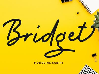 Bridget Monoline Script Font monoline fondry typography modern luxury font signature beautiful wedding ligature handwritten hand lettering calligraphy script