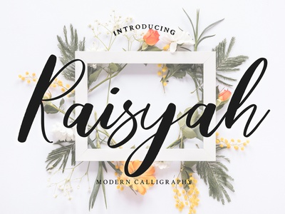 Raisyah Calligraphy Script Font brush foundry typography modern luxury font signature beautiful wedding ligature handwritten hand lettering calligraphy script