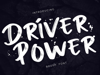 Driver Power Brush Grunge Font car sport extreme gym fitness brush grunge hand branding logo brand modern serif sans lettering pathfinderstd font handwritten