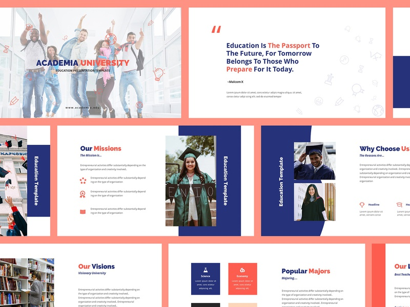 Academia Education Powerpoint Template majoring faculty lecture campus teacher learning study student academic school college education university