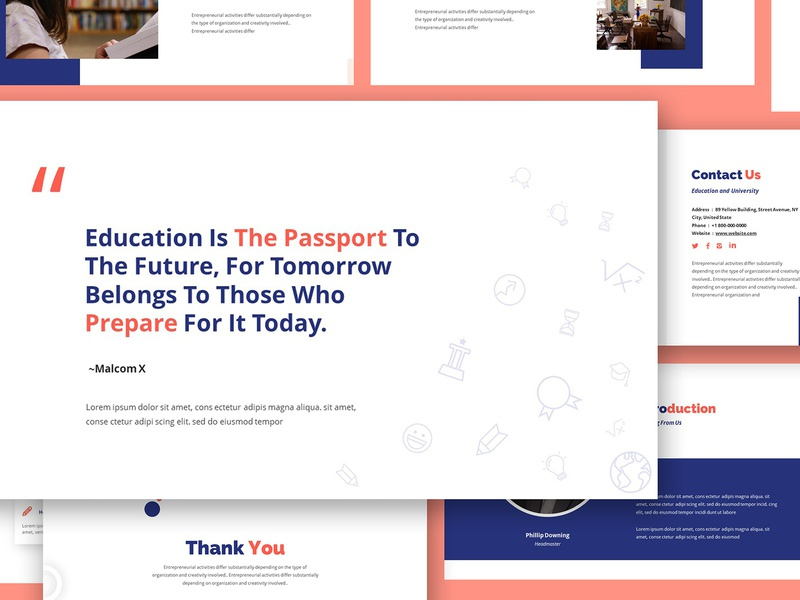 Academia Education Google Slides Template majoring faculty lecture campus teacher learning study student academic school college education university