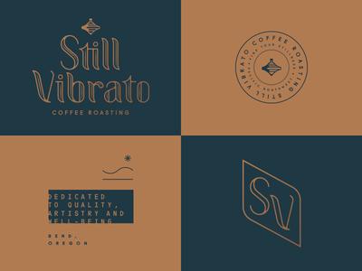 Still Vibrato coffee seal badge monogram typography custom type logo identity branding