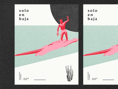 Alone in Baja typography collage abstract illustration
