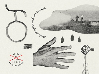 Valley of Time, Measured in Rain typography illustration collage