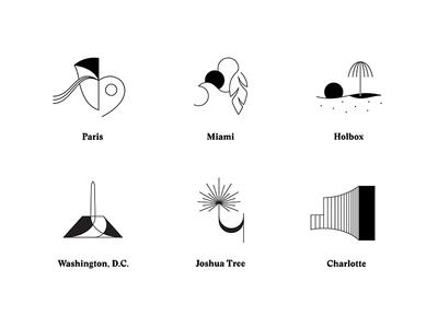Glassy Iconographyy abstract illustration icon city