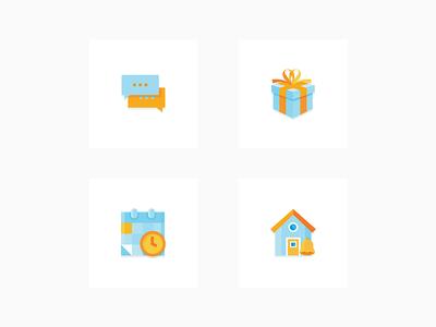 Icon Set communication icon calendar icon notification icon present icon real estate pixel perfect flat design icon