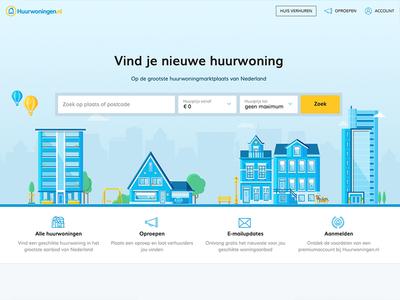 Web illustrations for a dutch rental marketplace. icons homepage webdesign webillustration building rental realestate house illustration houses