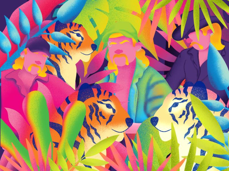 Kitty King texture grainy grain trippy netflix culture pop art pop bold color bold gradient color illustrator pattern design surface pattern surface design design illustration
