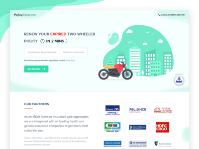 Insurance Campaign landing for two wheeler concept