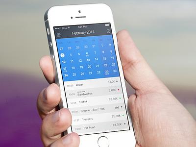 Spendy iPhone app Main Page ios 7 app iphone ipad ios expenses ui user interface