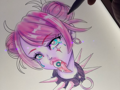 Work in progress color study neon goth girl anime illustrator procreate gothic color study